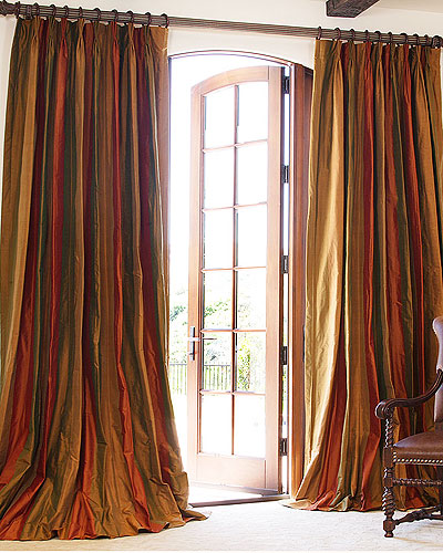 Hand made striped silk drapes and roman blinds on sale for Hotel drapes for sale